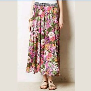 Anthropologie Maeve Banda Pink Floral Maxi Skirt M